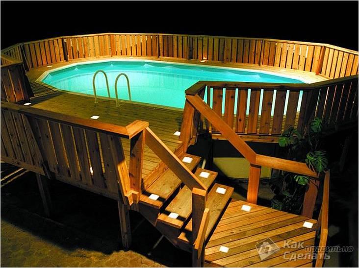 Бассейн с помостом и подсветкой