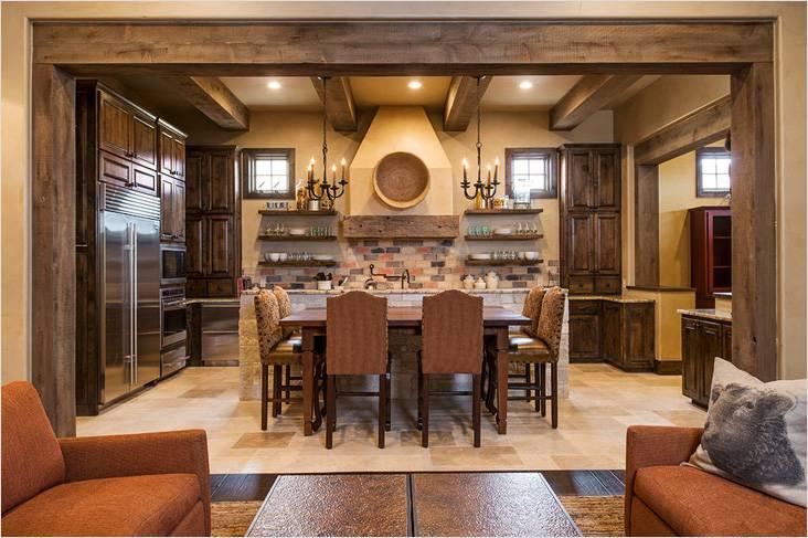Это кухня-столовая в стиле кантри