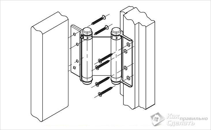 Схема установки пружинных петель