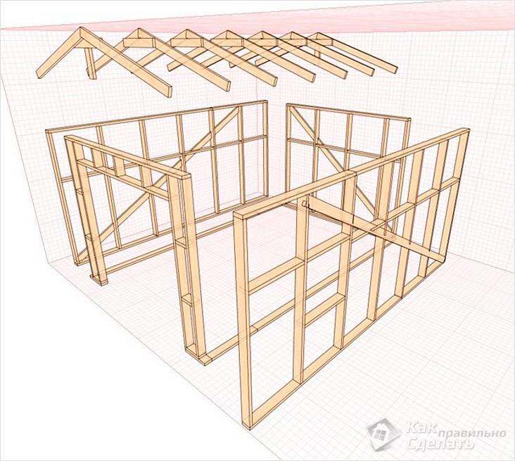 Чертеж каркаса деревянного
