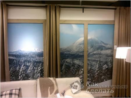 Фальш-окно — зимний лес