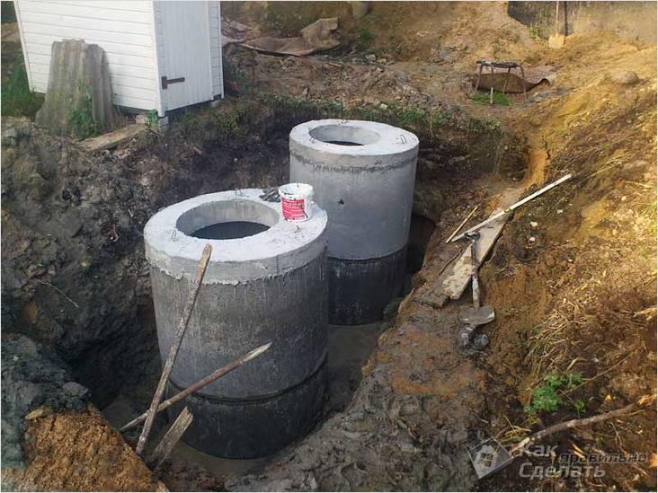 Instalação de fossa séptica de anéis de concreto
