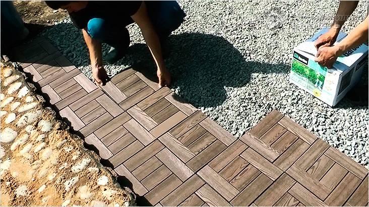 Как положить плитку в саду