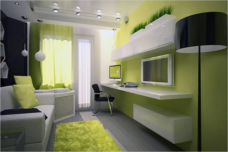 Использование зеленого цвета в маленькой гостиной