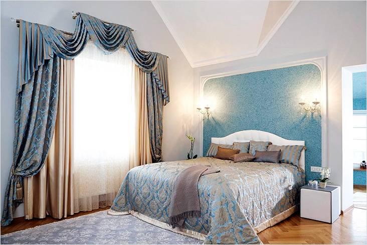 Красивый интерьер спальни с использованием жидких обоев