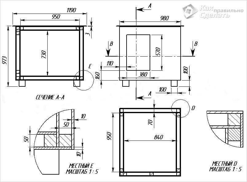 Детализированный чертеж будки