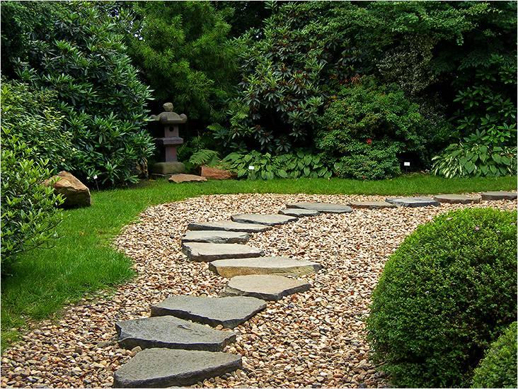 Декоративная дорожка из природного камня и гравия, отличная комбинация
