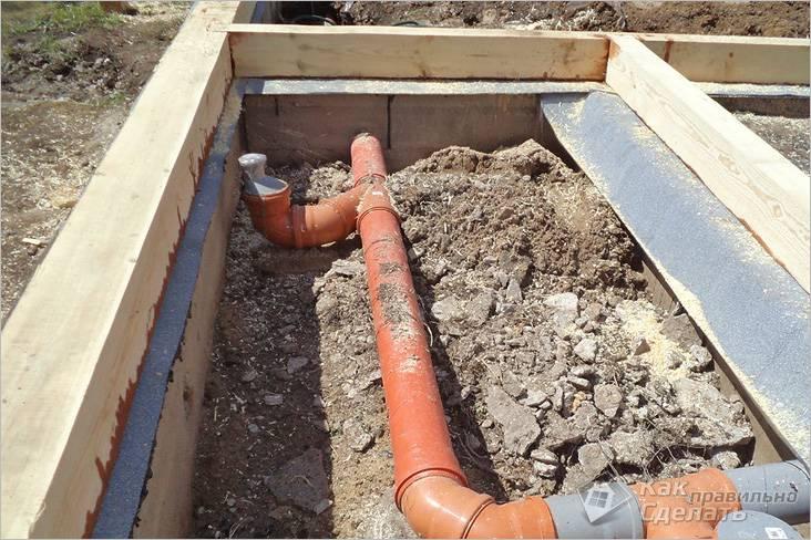 Разводка канализации в бане