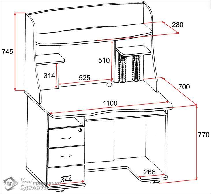 Столик для пк чертежи