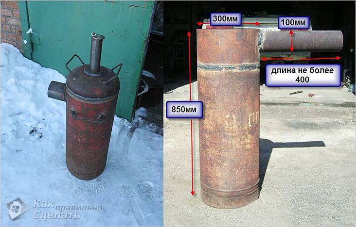 Печка медленного горения из газового баллона
