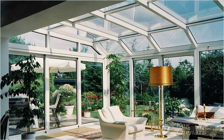 В качестве крыши выбирайте стеклопакеты