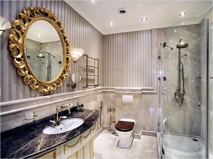 Акцент на золото в классическом интерьер ванной