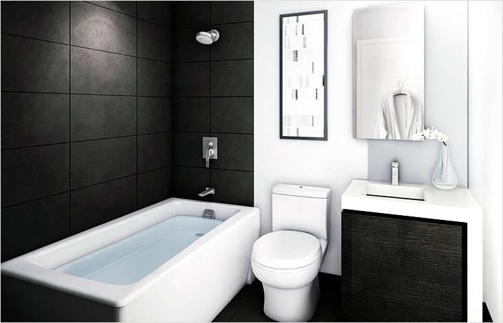 Черно-белый минимализм в дизайне ванной