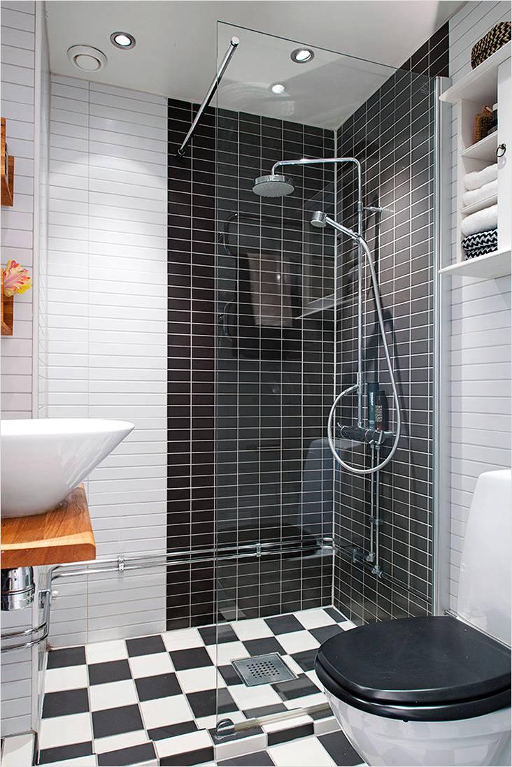 Черно-белый модерн с плиткой мозаикой и прозрачной душевой