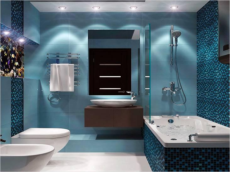 Цвет морской волны в ванной, выполненной в морском стиле