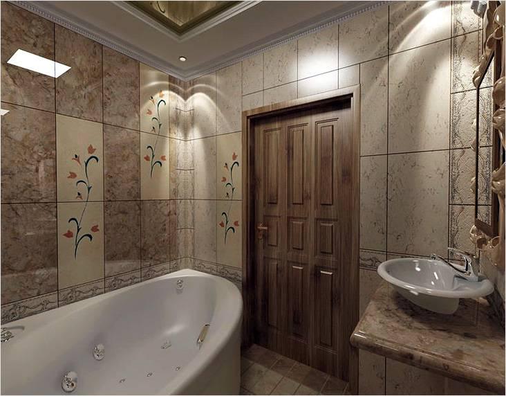 Цветные мотивы в интерьер ванной выполненной в классическом стиле