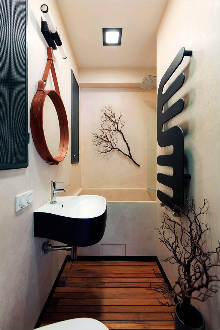 Декоративные элементы в ванной, выполненные в японском стиле
