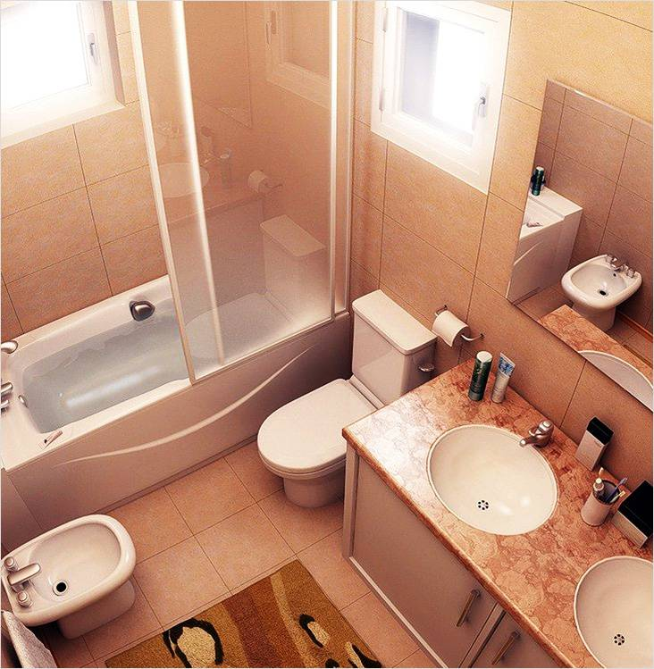 Дизайн маленькой ванной в бежевой палитре