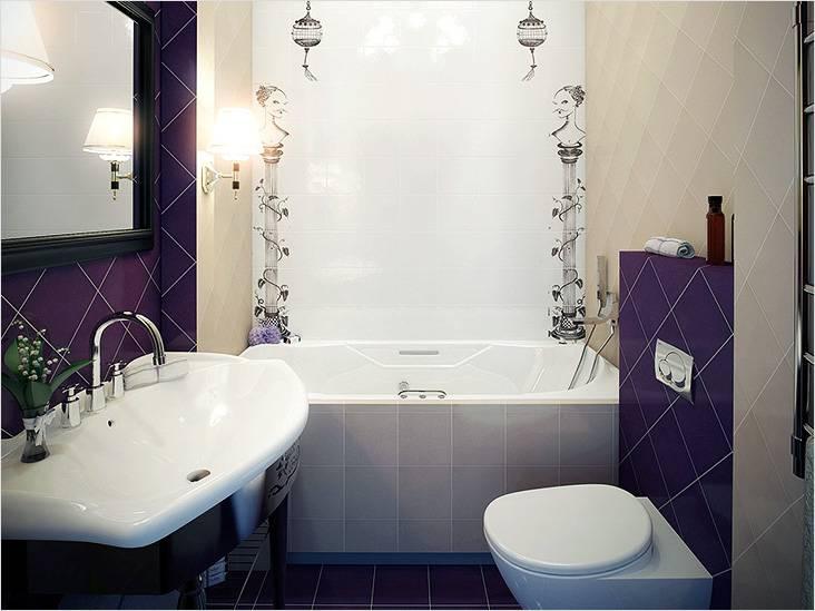 Интерьер ванной выполнен в ярких тоннах с элементами стиля модерн