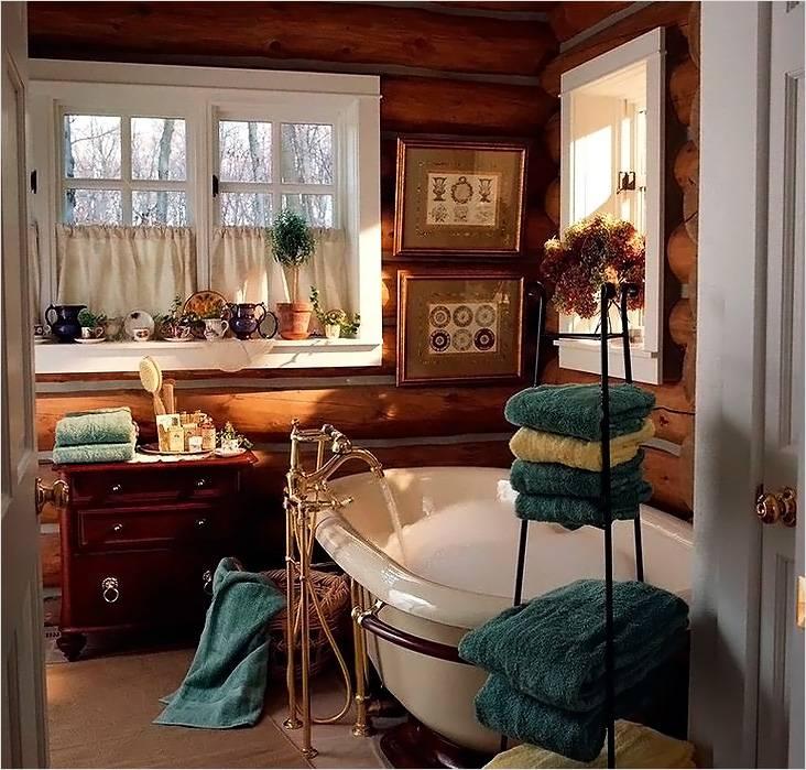 Классический кантри в ванной в деревянном доме