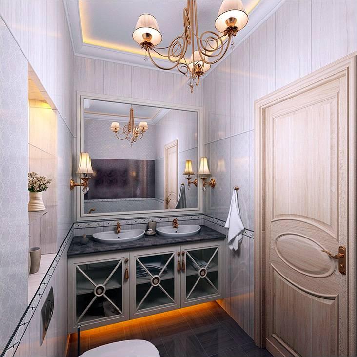 Классический стиль ванной с подсвечивающим потолком и тумбой