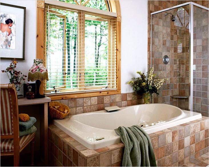 Коричнево-оливковая палитра, присущая в общей концепции кантри в интерьере в целом, в том числе и в ванной