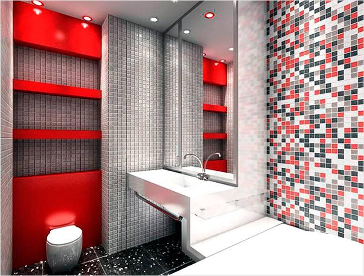 Красный и серый цвет в стиле минимализм маленькой ванной