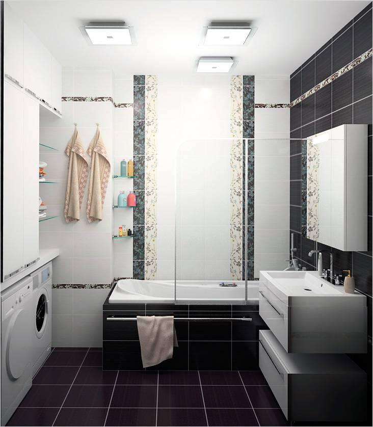 Минимализм как он есть в интерьере небольшой ванной с нишами и полочками