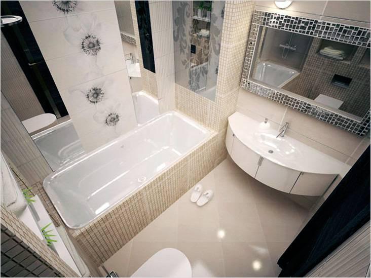Модерн в коричнево-бежевой палитре с цветочным принтом в ванной