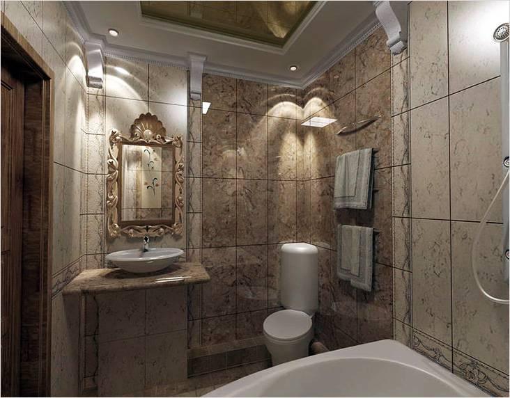 Мрамор в интерьере маленькой ванной в классическом стиле