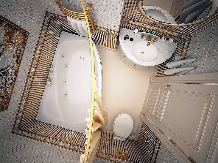 Мрамор, золото и ванна-джакузи в маленькой ванной в классическом стиле