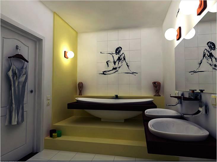 необычная форма сантехники, загадочный рисунок на плитке — это и есть современный стиль