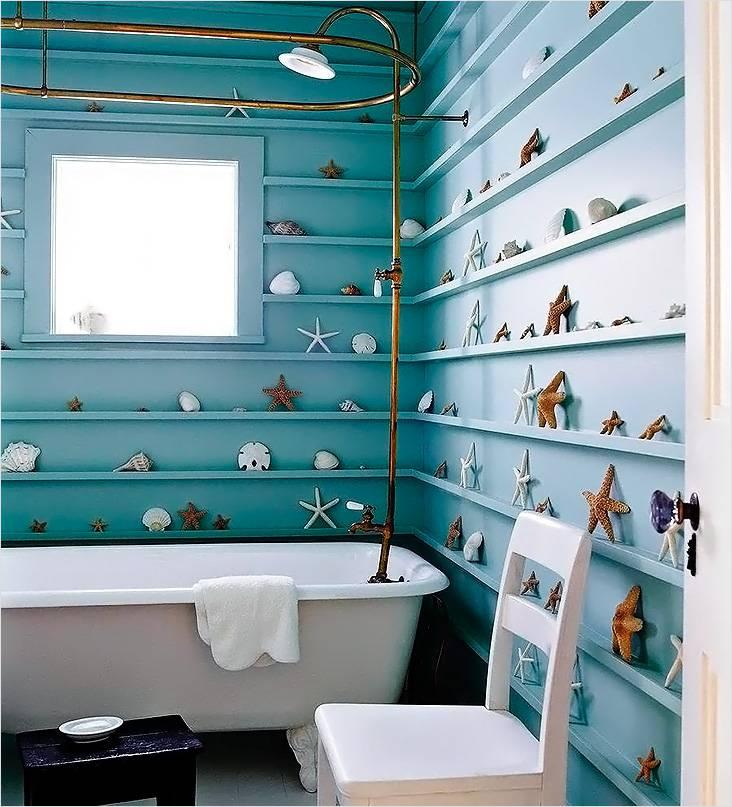 Обилие ракушек, а также бирюзовый фон — это все, что может понадобиться для оформления ванной в морском стиле