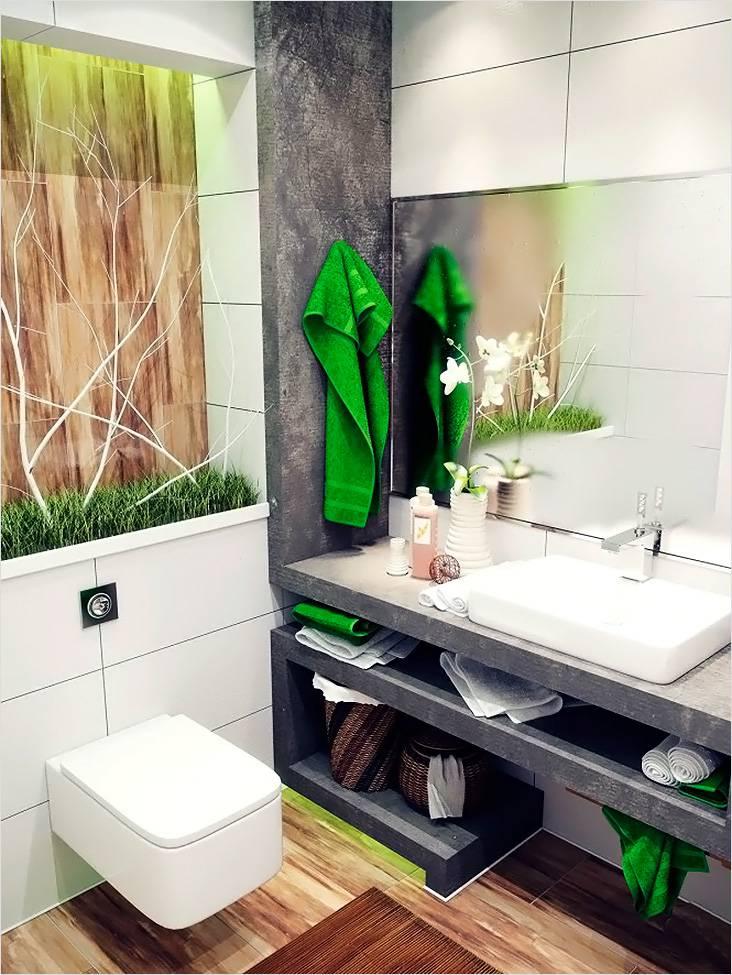 Плитка под дерево и цветочки хорошо подчеркивают японский мотив в небольшой ванной
