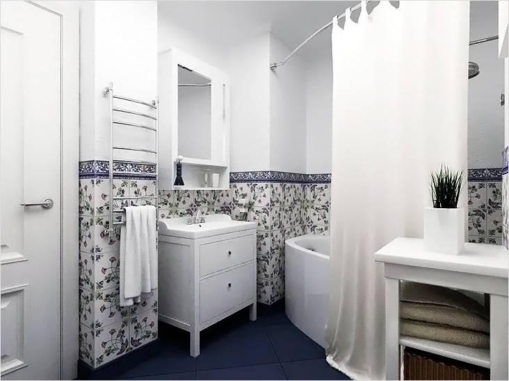 Прованс — это нежное сочетание светлых стен с плиткой в цветочный принт