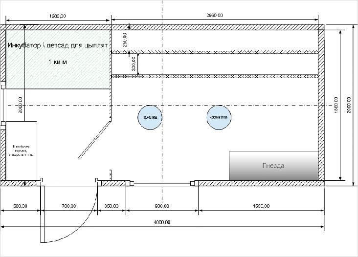 Схема грамотного расположения всех помещений в курятнике