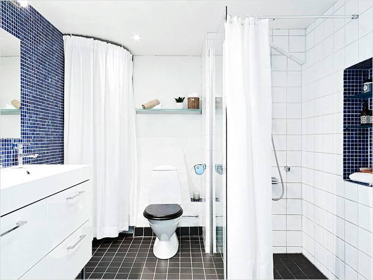 Сочетание мозаики и плитки в дизайне ванной