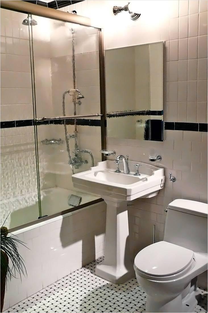 Современный стиль с элементами классики в дизайне маленькой ванной