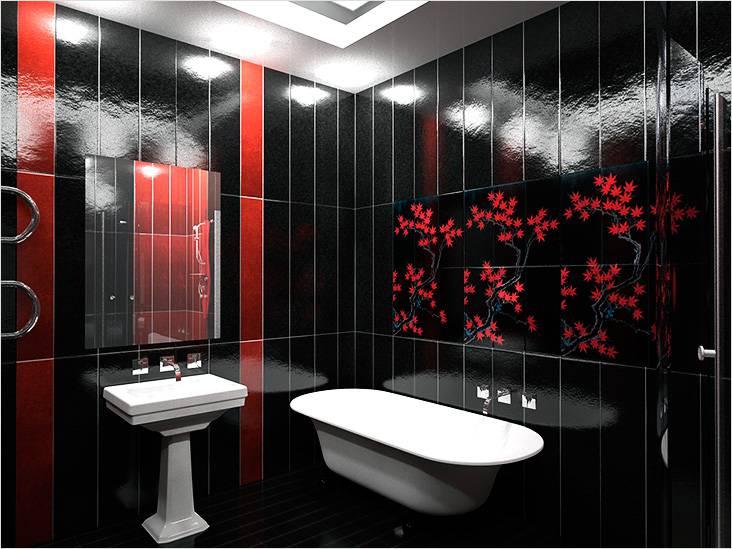 Стиль модерн с яркими акцентами в маленькой ванной комнате