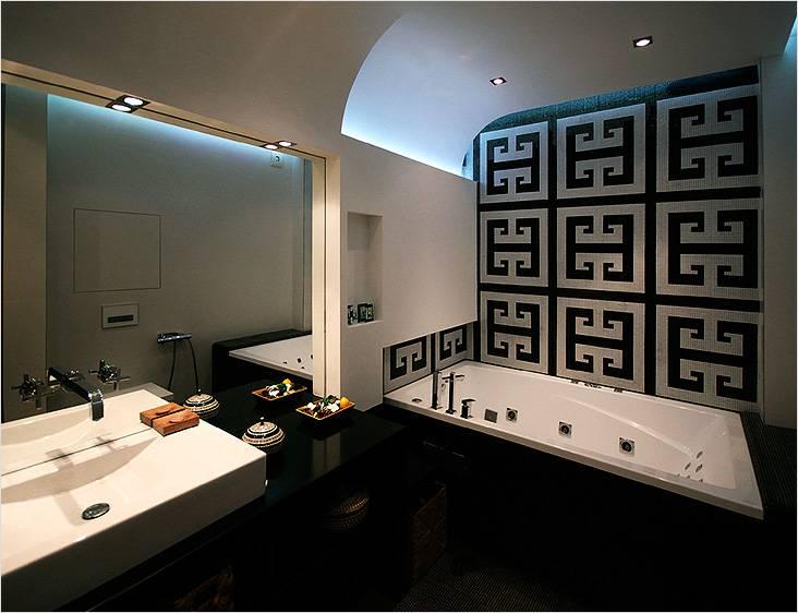 Стиль модерн в маленькой ванной с мотивами восточного стиля