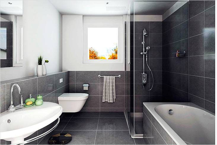 Стиль модерн в ванной совмещенной с душевой и туалетом