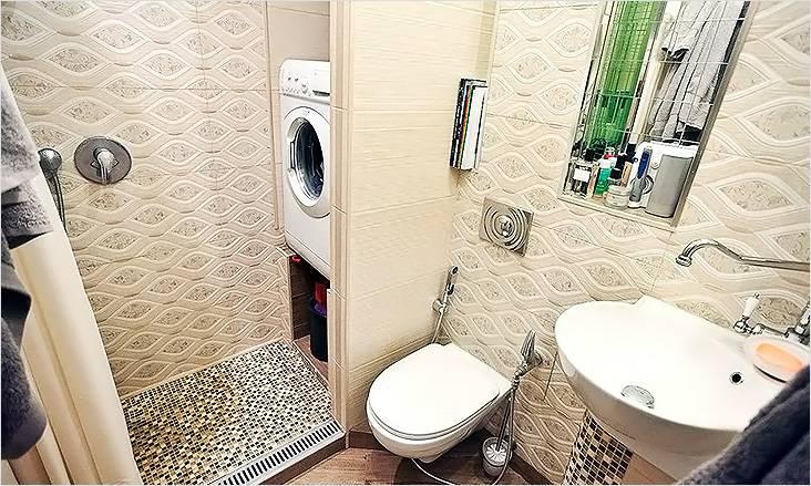 Ванная комната с нишей под стиральную машину