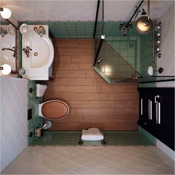 Ванная комната в стиле ретро, вид сверху