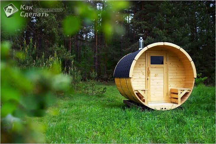 Баня бочка в лесу