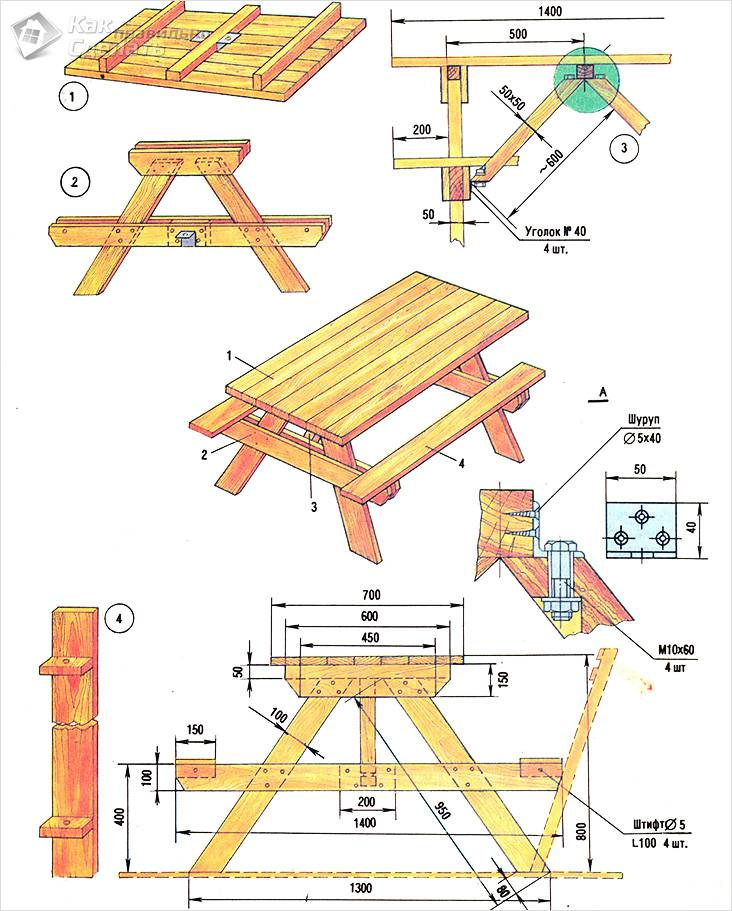 Чертеж деревянного садового стола