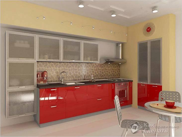 Дизайн кухни в стиле модерн с оригинальной отделкой рабочей стены