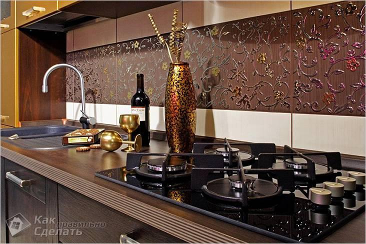 Интерьер стен кухни с плиткой