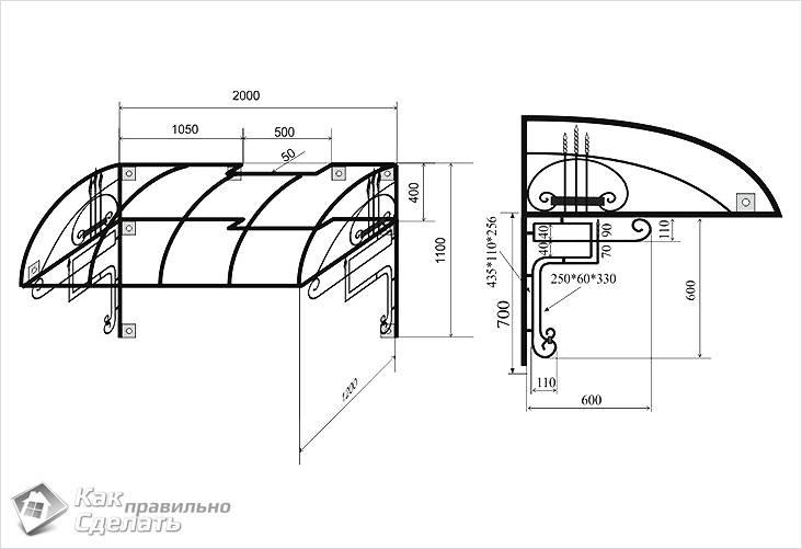 Схема металлического козырька