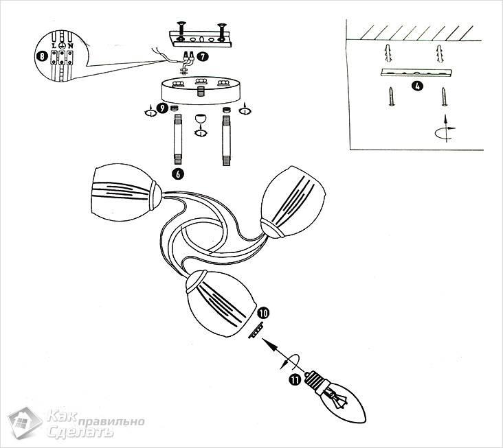 Схема сборки люстры