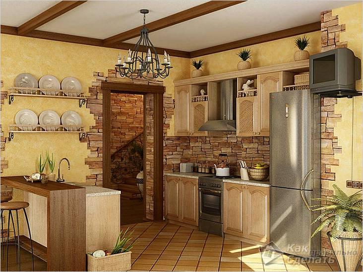 В современном дизайне стен кухни может быть несколько видов отделки